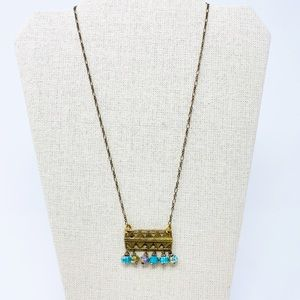 ANTHROPOLOGIE Gold & Blue Necklace Boho Layer